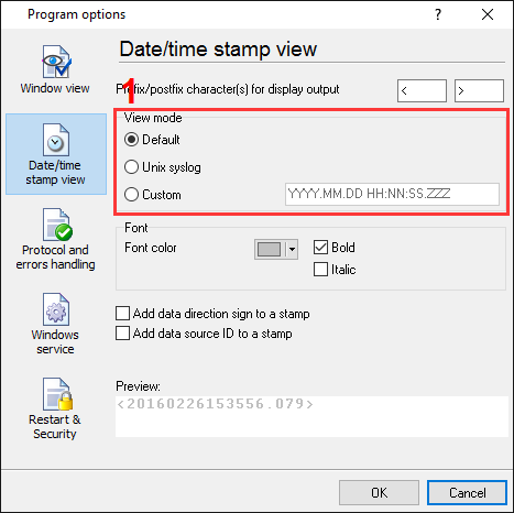 Barcode scanner data logger. The date/time stamp view settings