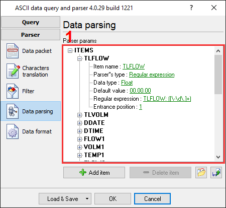 Serial port data and Excel. Parser items