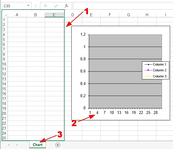 Charting in Excel. Excel file.