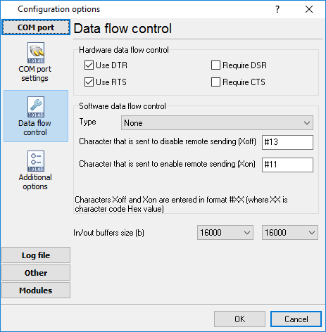 Hardware flow control settings