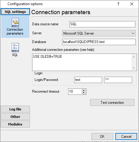 Database connection settings
