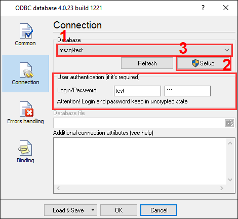 MS SQL 2000 export. ODBC database. Connection options