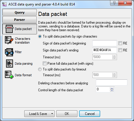 Specifying the data packet properties