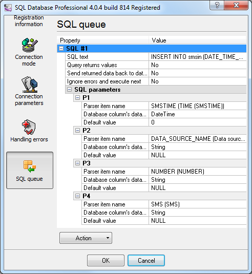 SQL query settings