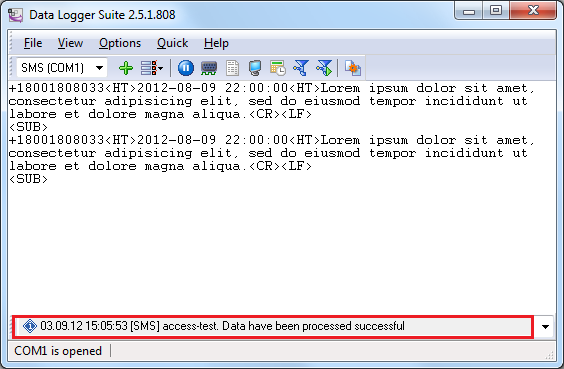 Message about SMS successfully written to the database